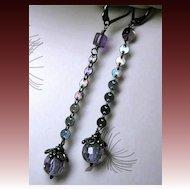 Amethyst dark Silver drop earrings dangle Camp Sundance