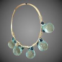 Blue CZ hoops, Silver hoop earrings, hand forged, self closing, Camp Sundance, Gem Bliss