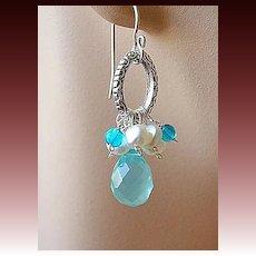 Aqua blue and genuine Pearls oval hoop on Silver designer earrings