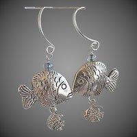 Fish Hoop earrings, Designer Silver hoops, fish charms, Camp Sundance, dangle silver earrings, Gem Bliss