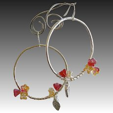 Silver Hoop earrings, flower vine hoops, Camp Sundance, Gem Bliss