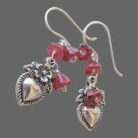 Milagros Silver earrings, Silver drop earrings, charms, Camp Sundance, Gem Bliss