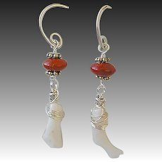 White Coral earrings, red Poppy Jasper, Mini Hoop earrings, Camp Sundance, Gem Bliss