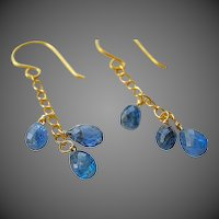 Blue Kyanite, drop earrings, 14k, Gold filled, Camp Sundance, cascade earrings, Gem Bliss