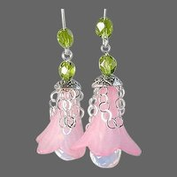 Opalite earrings, pink drop earrings, flower earrings, Silver, Camp Sundance, Gem Bliss