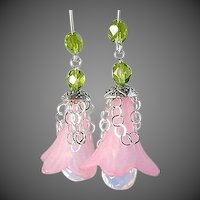 Opalite earrings, pink drop earrings, flower earrings, Silver, Camp Sundance, Gem Bliss