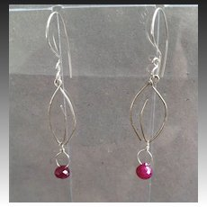 Ruby kiss cut charm Leaf hook earrings Silver Designer style Camp Sundance