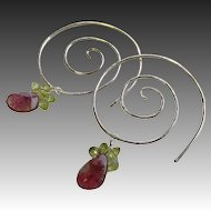 Tourmaline Earrings, Silver Tourmaline Hoops, Camp Sundance, Gem Bliss