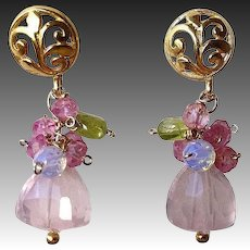 Pink earrings, Rose Quartz Topaz earrings, Peridot, Vermeil post earrings, Camp Sundance, Gem Bliss