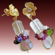 Watermelon Tourmaline earrings, gem Slices, Flower earrings, Camp Sundance, Gem Bliss