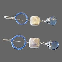 Mystic blue, square Coin Pearl, Silver earring, Bridal, Camp Sundance, Gem Bliss