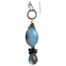 Larimar earrings,Labradorite, Silver drop earrings, Camp Sundance, Gem Bliss