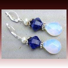 Blue Sodalite Opalite drop earrings Camp Sundance Euro lever back