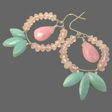 Amazonite Hoops, Rose Quartz Earrings, Amazonite, Silver Hoop earrings, Camp Sundance, Gem Bliss