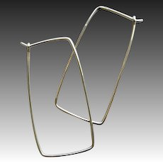 Long Silver hoop earrings, long Silver squares, Camp Sundance, mod cowgirl, Gem Bliss