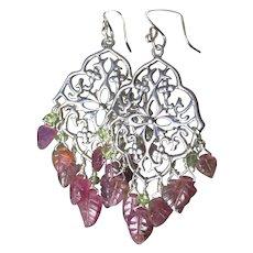 Carved Tourmaline earrings, Silver Chandelier earrings, Camp Sundance, Gem Bliss Jewelry