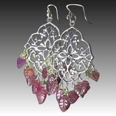 Carved Tourmaline earrings, Silver Chandelier earrings, Camp Sundance, Gem Bliss