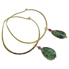 Bold Hoop, hoop Earrings, Ruby Zoisite charms, Bronze hoop earrings, self closing hoops, Gem Bliss Jewelry