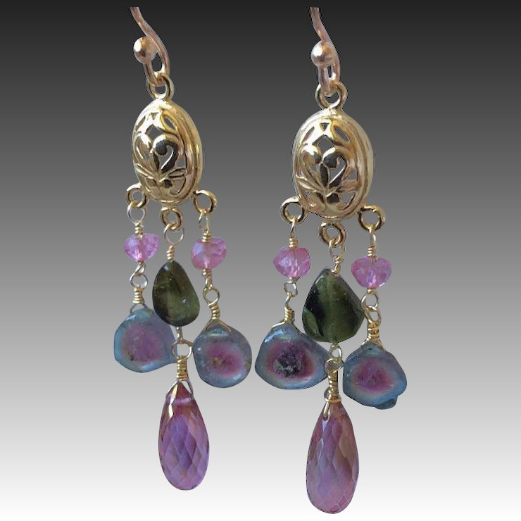 view raindrop big earrings amp tourmaline in by khwaish w purity pink y