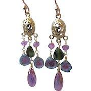 Tourmaline earrings, Topaz chandelier earrings, Watermelon Tourmaline chandeliers, Rose Gold filled, Camp Sundance, Gem Bliss