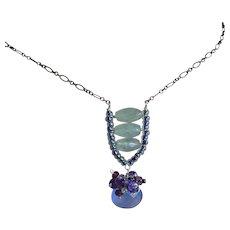 Chalcedony, Amethyst, green quartz, blue pendant, Silver necklace, Camp Sundance, Gem Bliss
