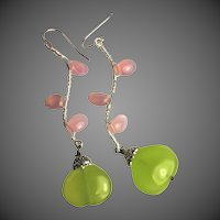 Twig earrings, Green Chalcedony, Pink petal Twigs, branch, vine, Silver earrings, Camp Sundance, Gem Bliss