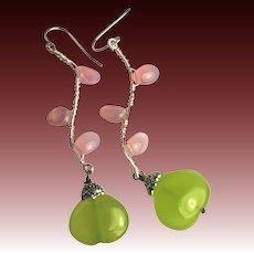 Twig earrings, Green Chalcedony, Pink petal Twigs, branch, vine, Silver earrings, Camp Sundance, Gem Bliss