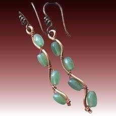 Green Twig earrings, Copper branch earrings, dangle drops, Vine, Camp Sundance, Gem Bliss