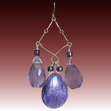 Charoite, Amethyst, Silver Chandelier earrings, purple earrings, Camp Sundance, Gem Bliss