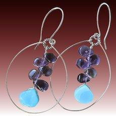 Amethyst, Peruvian Opal, Silver hoop earrings, February Birthstone, Camp Sundance, Gem Bliss
