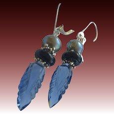 Carved London blue Quartz Silver lever back earrings Gem Bliss