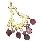 Watermelon Earrings, Tourmaline Slices, 18k Vermeil, Pink chandelier earrings Camp Sundance Gem Bliss Jewelry