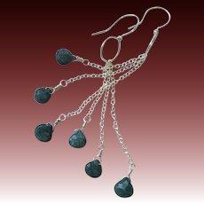 Genuine Emeralds Silver Dangle earrings May birthstone Camp Sundance Gem Bliss
