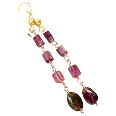 Pink and Watermelon Tourmaline 22k Vermeil hook earrings Camp Sundance Gem Bliss