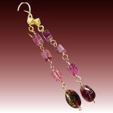 Pink and Watermelon Tourmaline 22k Vermeil hook earrings Camp Sundance Gem Bliss