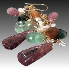 Blue Tourmaline briolettes, Rainbow Tourmaline dangle earrings Rubellite 22K Vermeil Camp Sundance Gem Bliss, October Birthday