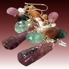 Blue Tourmaline briolettes, Rainbow Tourmaline dangle earrings Rubellite 22K Vermeil Camp Sundance Gem Bliss, October Birthday