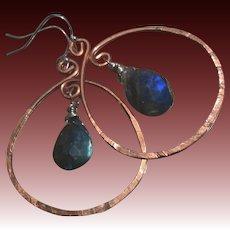 Copper Hoop earrings, Labradorite earrings, Copper earrings rustic hoops urban cowgirl Camp Sundance Gem Bliss
