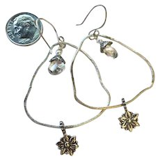 Sterling Silver bridal hoops crystal flower charm earrings, Camp Sundance Gem Bliss
