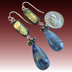 Blue Kyanite Abalone Silver earrings long Kyanite dangle earrings Camp Sundance earrings Gem Bliss
