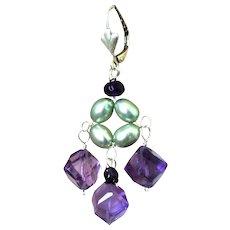 Amethyst Pearls Silver chandelier earrings Gem Bliss Camp Sundance