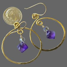 Gold filled Hoop earrings, Amethyst earrings, Gold filled hoops Amethyst hoops Camp Sundance Gem Bliss