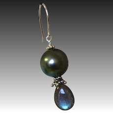 Tahitian Pearl Earrings Labradorite earrings South Sea Black Pearl Silver earrings Camp Sundance Gem Bliss