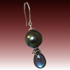 Tahitian Pearl Earrings Labradorite earrings South Sea Black Pearl Silver earrings Camp Sundance Gem Bliss