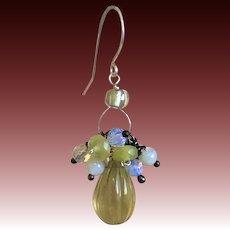 Lemon Quartz Opalite Cluster Silver earrings Gem Bliss