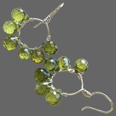 Sterling Silver sparkling green CZ flower petal Hoop Earrings Gem Bliss Jewelry