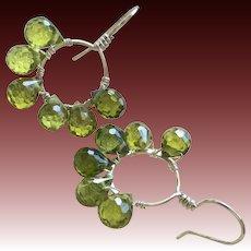 Silver green CZ hook Hoop Earrings Gem Bliss