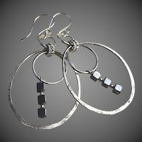Silver Hoops Hematite Earrings Gem Bliss