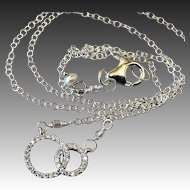 Double happiness Silver necklace Pave CZ Camp Sundance Gem Bliss