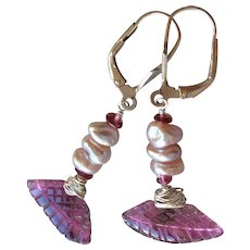 Pink Tourmaline Keshi Pearl Silver Earrings Gem Bliss